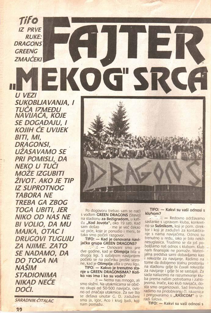 Fajter mehkega srca, 1. del, Čao tifo, 6. november 1990