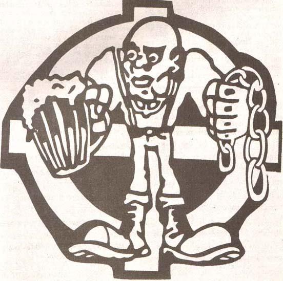 Zaščitni znak mariborskih Viol, ki uporabljajo za ilustracijo pripadnika skindead gibanja in keltski križ; vir: Tribine, št. 3, julij 1995