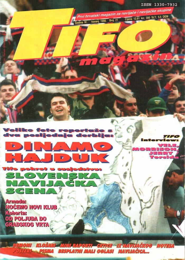 Naslovnica Tifo magazin, št. 21, april 1998