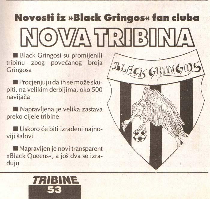 Novosti iz fan kluba Black Gringos, Tribine, 4. avgust 1995