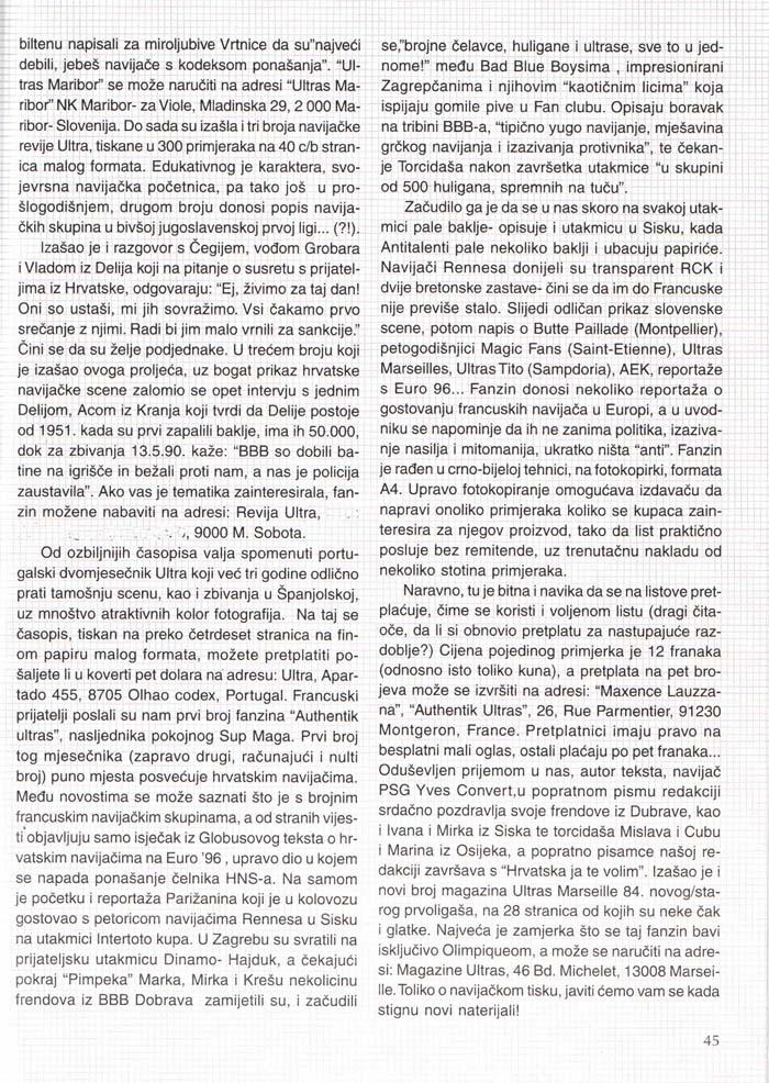 Novosti v navijaškem tisku, 1.del, Navijačka tribina 8