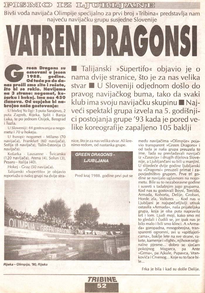 Ognjeni Dragonsi, 1.del, Tribine, 1. maj 1995