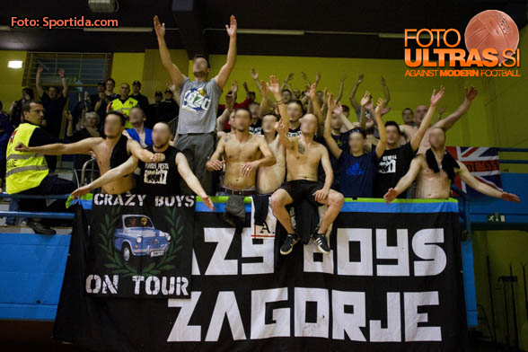 Supporters of RK Zagorje, Crazy Bpys Zagorje during handball match between ZRK Mlinotest Ajdovscina and RK Zagorje in 17th Round of Slovenian Women Handball League 2015/16 on April 6, 2016 in Sports hall Police Ajdovscina, Ajdovscina, Slovenia. Photo By Urban Urbanc / Sportida