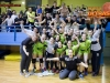 Players of RK Zagorje celebrate with fans after handball match between ZRK Mlinotest Ajdovscina and RK Zagorje in 17th Round of Slovenian Women Handball League 2015/16 on April 6, 2016 in Sports hall Police Ajdovscina, Ajdovscina, Slovenia. Photo By Urban Urbanc / Sportida