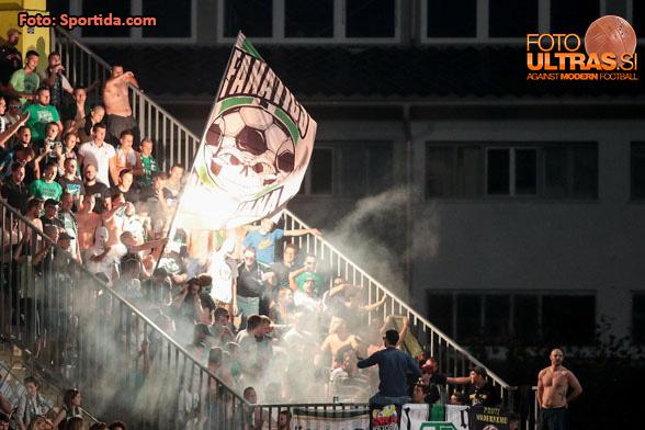 Fans of Olimpija celebrate during football match between NK Domzale and NK Olimpija Ljubljana in 6th Round of Prva liga Telekom Slovenije 2016/17, on August 20, 2016 in Sportni Park, Domzale, Slovenia. Photo by Matic Klansek Velej / Sportida