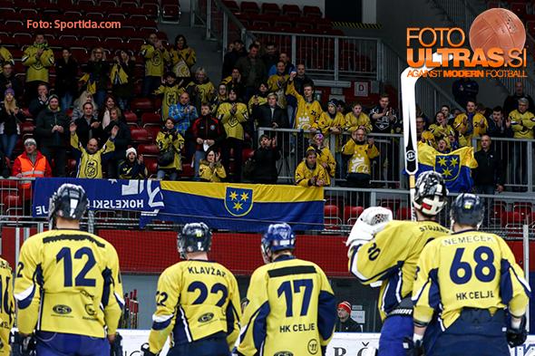 Fans of Celje during ice hockey match between HDD SIJ Acroni Jesenice and HK ECE Celje in Semifinal of Slovenian League 2015/2016, on March 24, 2016 in Podmezaklja, Jesenice, Slovenia. Photo By Matic Klansek Velej / Sportida