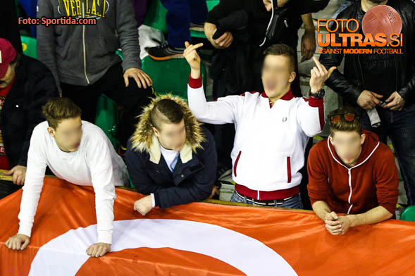 Fans of Jesenice during ice hockey match between HDD Telemach Olimpija and HDD SIJ Acroni Jesenice in Final of Slovenian League 2015/2016, on April 11, 2016 in Hala Tivoli, Ljubljana, Slovenia. Photo By Matic Klansek Velej / Sportida