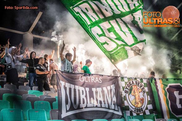 Green Dragons, supporters of Olimpija during football match between NK Olimpija Ljubljana and NK Krsko in 3rd Round of Prva liga Telekom Slovenije 2016/17, on August 1, 2016 in SRC Stozice, Ljubljana, Slovenia. Photo by Vid Ponikvar / Sportida