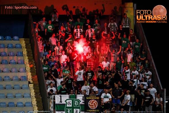 Fans of NK Olimpija Ljubljana during football match between NK Kalcer Radomlje and NK Olimpija Ljubljana in 2nd round of Prva liga Telekom Slovenije 2016/17, on July 23th, 2016, in Sportni park Domzale, Domzale, Slovenia. Photo by Grega Valancic / Sportida