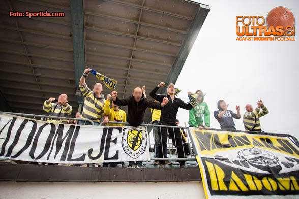 Supporters of Kalcer Radomlje celebrates their win after the football match between NK Triglav Kranj and ND Kalcer Radomlje in 26th Round of 2. SNL, on May 14, 2016 in Sports center Kranj, Kranj, Slovenia. Photo by Ziga Zupan / Sportida