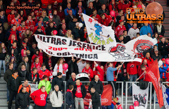 10 years Anniversary of Ultras Jesenice, fans of Jesenice during Ice hockey match between HDD SIJ Acroni Jesenice and HDD Telemach Olimpija in Main Round of Slovenian National Championship 2014/15, on October 28, 2014 in Arena Podmezakla, Jesenice, Slovenia. Photo by Vid Ponikvar / Sportida