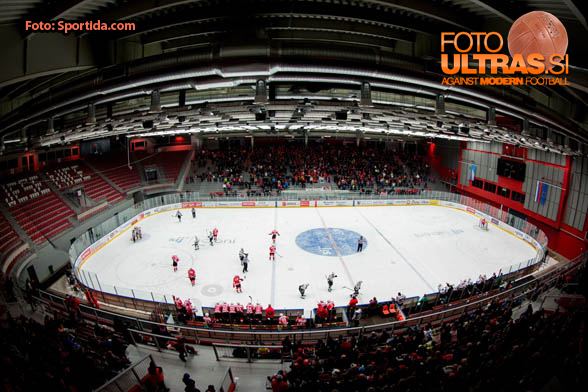 Arena Podmezakla during Ice hockey match between HDD SIJ Acroni Jesenice and HDD Telemach Olimpija in Main Round of Slovenian National Championship 2014/15, on October 28, 2014 in Arena Podmezakla, Jesenice, Slovenia. Photo by Vid Ponikvar / Sportida