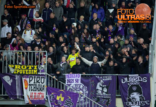 Viole, fans of Maribor during football match between NK Domzale and NK Maribor in 25th Round of Prva liga Telekom Slovenije 2014/15, on March 22, 2015 in Sports park Domzale, Slovenia. Photo by Vid Ponikvar / Sportida