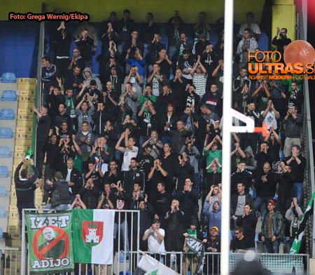 Soccer/Football, Domzale, First division (NK Domzale - NK Olimpija), Green dragons, 20-Sep-2014, (Photo by: Grega Wernig / Ekipa)