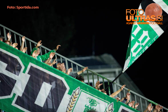 Green Dragons, fans of Olimpija during football match between NK Domzale and NK Olimpija in 9th Round of Prva liga Telekom Slovenije 2014/15, on September 20, 2014 in Sports park Domzale, Slovenia. Photo by Vid Ponikvar / Sportida.com