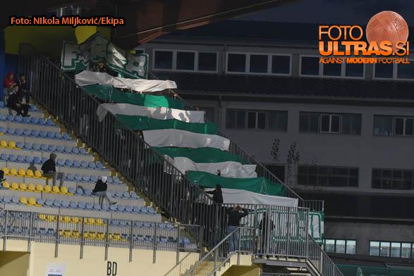 Soccer/Football, Domzale, Slovenia Cup (NK Domzale - NK Olimpija Ljubljana), Green dragons, Olimpija fans, 22-Oct-2014, (Photo by: Nikola Miljkovic / Krater Media)
