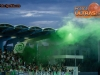 Green Dragons, fans, of Olimpija during football match between ND Gorica and NK Olimpija Ljubljana in Round #10 of Prva liga Telekom Slovenije 2015/16, on September 19, 2015, in Sports park Gorica, Nova Gorica, Slovenia. Photo by Vid Ponikvar / Sportida