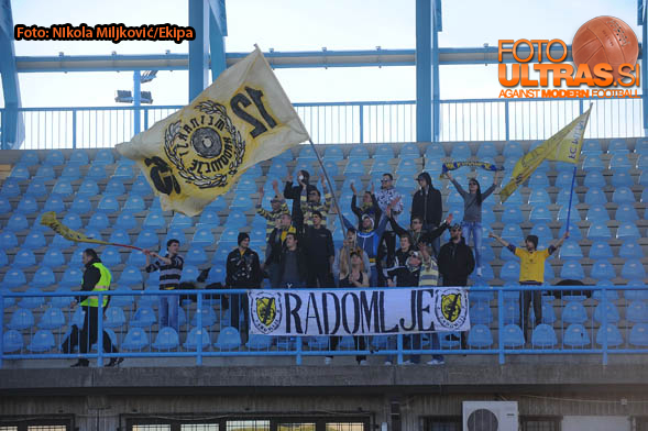 Soccer/Football, Nova Gorica, First Division (ND Gorica - NK Radomlje), Radomlje fans, Mlinarji, 08-Mar-2015, (Photo by: Nikola Miljkovic / M24.si)