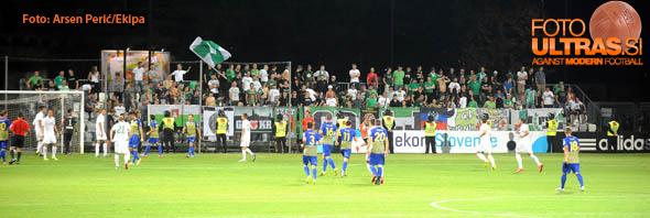 Soccer/Football,  Slovenia, Koper, First Division (FC Luka Koper - NK Olimpija), Football team Olimpija fans, 27-Aug-2014, (Photo by: Arsen Peric / Ekipa)