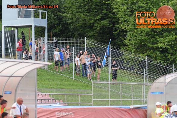 Soccer/Football, Novo mesto, First Division (NK Krka - ND Gorica), Gorica fans, 02-Aug-2015, (Photo by: Nikola Miljkovic / M24.si)