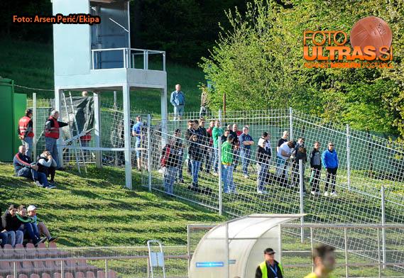 Soccer-Football, Slovenia, Novo Mesto, First Division (NK Krka - NK Olimpija), Football team Olimpija, green Dragons, fans, 19-Apr-2015, (Photo by: Arsen Peric / M24.si)