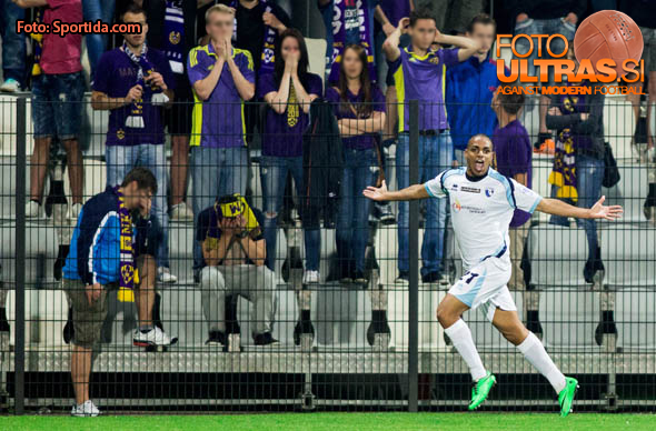 Francesco Finocchio #21 of Gorica celebrates after scoring his 1st goal during football match between NK Maribor and ND Gorica in Final of Slovenian Cup 2014 on May 21, 2014 in Stadium Bonifika, Koper, Slovenia. Photo by Vid Ponikvar / Sportida