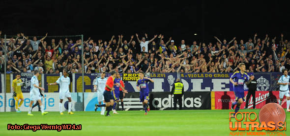 Soccer/Football, Koper, Slovenian Cup finals (NK Maribor - ND Gorica), Viole fans, 21-May-2014, (Photo by: Grega Wernig / Ekipa)