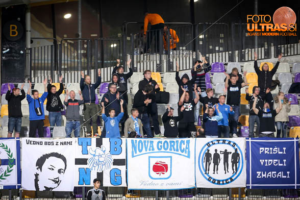 Fans of Gorica in action during soccer match between Maribor - Gorica, Round 32 of PLTS 2016/17, played in Ljudski vrt, Maribor, Slovenia on May 6, 2017