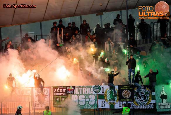 Green Dragons, Supporters of Olimpija during 2nd Leg football match between NK Maribor and NK Olimpija Ljubljana in Semifinal of Slovenian Football Cup 2016/17, on April 12, 2017 in Stadium Ljudski vrt, Maribor, Slovenia. Photo by Vid Ponikvar / Sportida