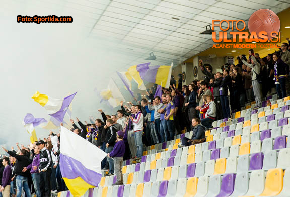 Viole, fans of Maribor during football match between NK Maribor and NK Olimpija Ljubljana in 30th Round of Prva liga Telekom Slovenije 2014/15, on April 29, 2015 in Stadium Ljudski vrt, Maribor, Slovenia. Photo by Vid Ponikvar / Sportida