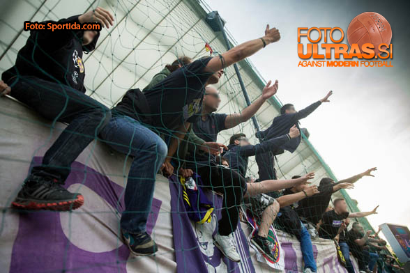 Viole, fans of Maribor celebrate after winning the football match between NK Maribor and NK Olimpija Ljubljana in 30th Round of Prva liga Telekom Slovenije 2014/15, on April 29, 2015 in Stadium Ljudski vrt, Maribor, Slovenia. Photo by Vid Ponikvar / Sportida