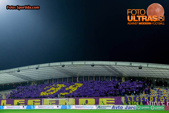 Viole, fans of Maribor and his 25th anniversary during football match between NK Maribor and NK Olimpija Ljubljana in 12th Round of Prva liga Telekom Slovenije 2014/15, on October 4, 2014 in Stadium Ljudski vrt, Maribor, Slovenia. Photo by Vid Ponikvar / Sportida.com