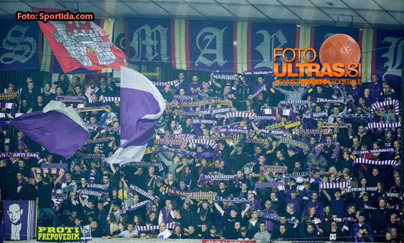 Viole, Fans of Maribor during football match between NK Maribor and NK Olimpija Ljubljana in 12th Round of Prva liga Telekom Slovenije 2014/15, on October 4, 2014 in Stadium Ljudski vrt, Maribor, Slovenia. Photo by Vid Ponikvar / Sportida.com