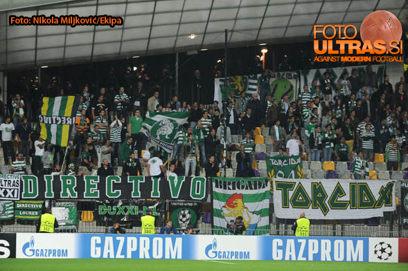 Soccer/Football, Maribor, Champions League (NK Maribor - Sporting Clube de Portugal), Sporting fans, 17-Sep-2014, (Photo by: Nikola Miljkovic / Krater Media)