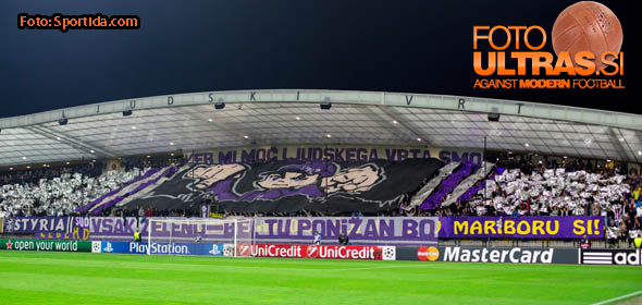 Viole, fans of NK Maribor before football match between NK Maribor and Sporting Lisbon (POR) in Group G of Group Stage of UEFA Champions League 2014/15, on September 17, 2014 in Stadium Ljudski vrt, Maribor, Slovenia. Photo by Matic Klansek Velej  / Sportida.com