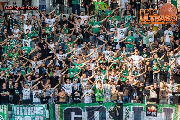 Green dragons fan group during football match between NK Olimpija Ljubljana and ND Gorica in 8th Round of Prva liga Telekom Slovenije 2016/17, on September 11, 2016 in Stozice, Slovenia. Photo by Grega Valancicc / Sportida