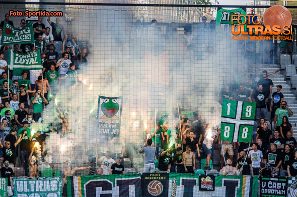 Green Dragons fans group of NK Olimpija Ljubljana during football match between NK Olimpija Ljubljana and ND Gorica in 8th Round of Prva liga Telekom Slovenije 2016/17, on September 11, 2016 in Stozice, Slovenia. Photo by Grega Valancicc / Sportida