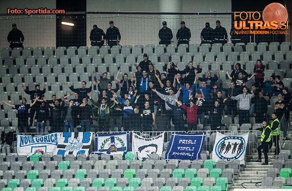 Supporters of Gorica during football match between NK Olimpija Ljubljana and ND Gorica in Round #26 of Prva liga Telekom Slovenije 2016/17, on March 29, 2017 in SRC Stozice, Ljubljana, Slovenia. Photo by Vid Ponikvar / Sportida