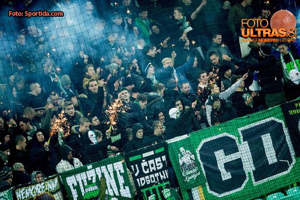 Green Dragons, fans of Olimpija during football match between NK Olimpija Ljubljana and NK Krsko in 21st Round of Prva liga Telekom Slovenije 2016/17, on December 11, 2016 in SRC Stozice, Ljubljana, Slovenia. Photo by Vid Ponikvar / Sportida