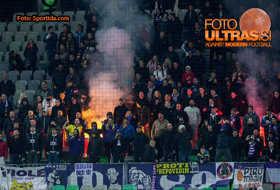 Viole, fans of Maribor during football match between NK Olimpija Ljubljana and NK Maribor in Round #26 of Prva liga Telekom Slovenije 2014/15, on April 8, 2015 in SRC Stozice, Ljubljana, Slovenia. Photo by Vid Ponikvar / Sportida