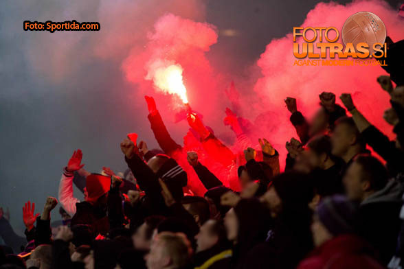 Viole, fans of Maribor celebrate after first goal of Maribor during football match between NK Olimpija and NK Maribor in 21st Round of Prva liga Telekom Slovenije 2014/15, on March 4, 2015 in SRC Stozice, Ljubljana, Slovenia. Photo by Vid Ponikvar / Sportida