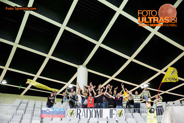 Supporters of Radomlje during football match between NK Olimpija Ljubljana and NK Radomlje in 13th Round of Prva liga Telekom Slovenije 2014/15, on October 15, 2014 in SRC Stozice, Ljubljana, Slovenia. Photo by Vid Ponikvar / Sportida.com