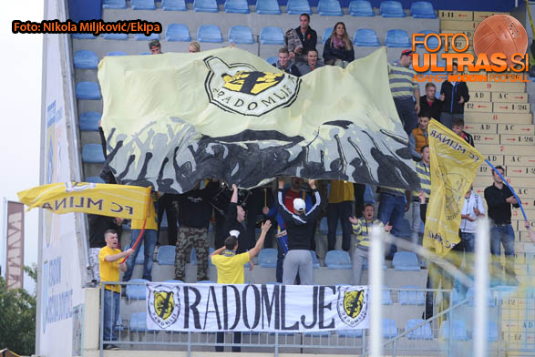 Soccer/Football, Domzale, First Division (NK Kalcer Radomlje - NK Domzale), NK Radomlje fans, 13-Sep-2014, (Photo by: Nikola Miljkovic / Krater Media)