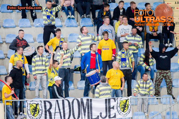 Supporters of Radomlje during football match between NK Kalcer Radomlje and NK Domzale in 8th Round of Prva liga Telekom Slovenije 2014/15, on September 13, 2014 in Sports park Domzale, Slovenia. Photo by Vid Ponikvar  / Sportida.com