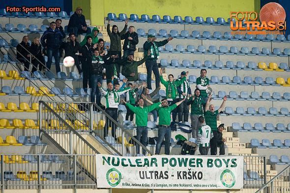 Nuclear Power Boys, supporters of Krsko during football match between NK Kalcer Radomlje and KK Krsko in 25th Round of Prva Liga Telekom Slovenije 2016/17, on March 18, 2017 in Sports park Domzale, Slovenia. Photo by Vid Ponikvar / Sportida