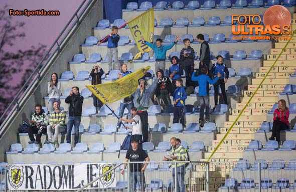 Supporters of Radomlje during football match between NK Radomlje and NK Maribor in 29th Round of Prva liga Telekom Slovenije 2014/15, on April 24, 2015 in Sportni park Domzale, Slovenia. Photo by Vid Ponikvar / Sportida