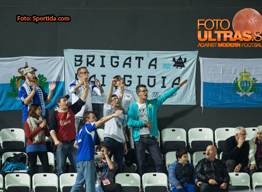 Supporters of San Marino during football match between National teams of San Marino and Slovenia in Group E of EURO 2016 Qualifications, on October 12, 2015 in Stadio Olimpico Serravalle, Republic of San Marino. Photo by Vid Ponikvar / Sportida