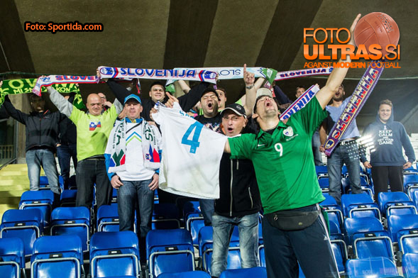 Divji Japodi, fans of Slovenia during football match between National teams of San Marino and Slovenia in Group E of EURO 2016 Qualifications, on October 12, 2015 in Stadio Olimpico Serravalle, Republic of San Marino. Photo by Vid Ponikvar / Sportida