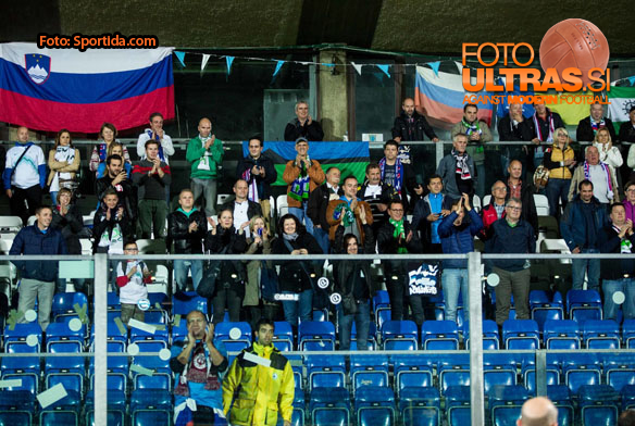 Fans of Slovenia during football match between National teams of San Marino and Slovenia in Group E of EURO 2016 Qualifications, on October 12, 2015 in Stadio Olimpico Serravalle, Republic of San Marino. Photo by Vid Ponikvar / Sportida