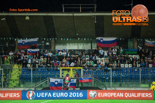 Supporters of Slovenia during football match between National teams of San Marino and Slovenia in Group E of EURO 2016 Qualifications, on October 12, 2015 in Stadio Olimpico Serravalle, Republic of San Marino. Photo by Vid Ponikvar / Sportida